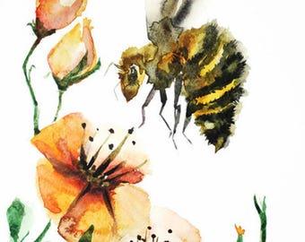 ORIGINAL watercolor BEE painting, Bumblebee watercolor, watercolor original, home decor, bumble bee watercolor, flowers watercolor Art OOAK