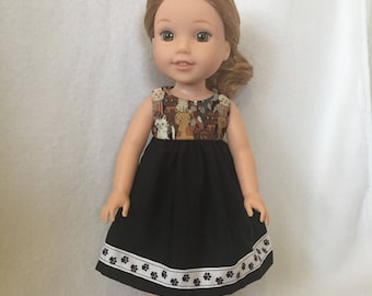 "Doll Clothes - 14"" Doll Clothes - Outfit for Dolls - Dress for Dolls - Cats -   Wellie Wishers Dress - Doll Dress - Black Dress for Doll"