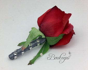 CHOOSE RIBBON COLOR - Red Rosebud Boutonniere, Red Rosebud Boutonniere with Rhinestones, Bling, Groom, Groomsmen, Real Touch, Red Rose