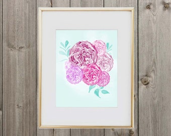 Watercolor Floral Digital Print 8x10 Instant Download Wall Art