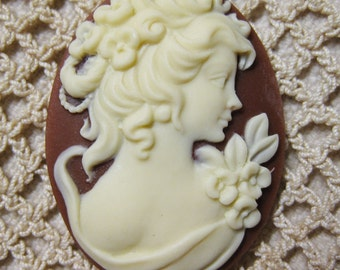 Elegant Victorian Lady in Ivory and Carnelian Cameo Jewelry Cabochon Pendant 40mm x 30mm