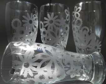 Etched beer glasses for women with flowers.  Custom beer glasses, bridesmaids gift. Set of 4.