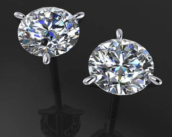 1 carat diamond cut NEO moissanite earrings, 14k rose gold