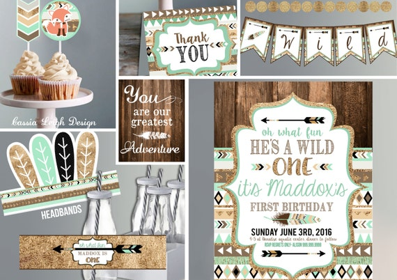 Printable Birthday Invitations For Boy ~ Wild one birthday invitation with decor brown mint teal and