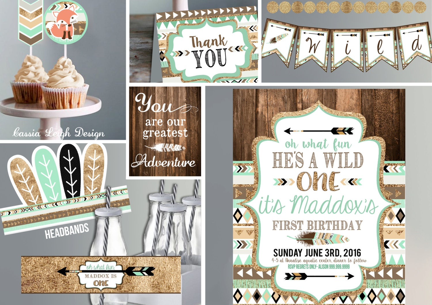Wild One Birthday Invitation with Decor brown mint teal and