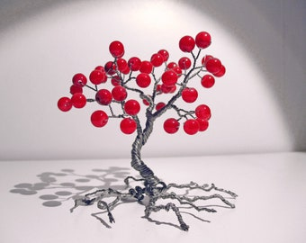 Wire tree Red Nephrite beaded tree wire bonsai miniature tree ornament