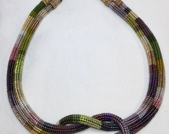 Double Strand Beaded Rope Necklace w/Knot