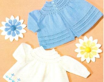 "4 Ply Knitting Pattern Baby Yoke Dress Cardigan Jacket Angel Top Matinee long Sleeve 4 Ply 16"" Knitting Pattern PDF Instant Download"
