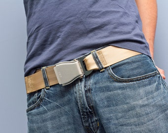 The Flybuckle™ - Beige (Khaki) Fashion Belt made with Airplane Seat Belt Buckle and Actual Seat Belt Strap
