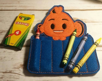 Orange Fish Crayon Holder, Handmade, Crayon Carrier, Crayola, Coloring, Childrens, Creative Toy, Christmas, Art, Finding Nemo, Party Favor