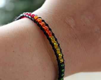 Bold Rainbow Pride Leather Wrap Bracelet - Rainbow Pride - Pride Jewelry- Leather Bracelet - Beaded Bracelet - Wrap Bracelet - Gay Pride