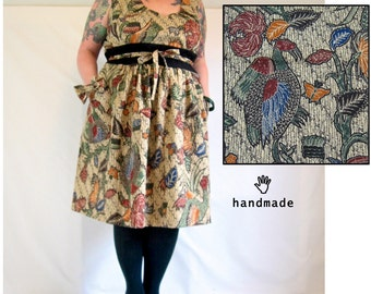 Pretty Pheasant Dress -- plus size 28, 30W, 4X -- holiday dinner party dress -- bow accessory -- cotton bird vintage fabric -- 58B-53W-80H