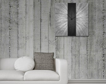 Contemporary Metal Wall Clock 'Black Stripe Clock' 22x22 in. Modern Artwork Home Decoration In Silver and Black - Silver Art Décor