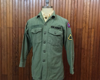 U.S. Army Vietnam Era Fatigue OG 107 Shirt Men's Large Green Sateen Cotton