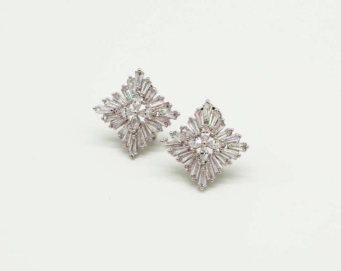 Crystal Bridal Earrings, Great Gatsby Wedding Earrings, Silver Art Deco earrings, Wedding Earrings, Bridal Jewerly, Vintage Earrings