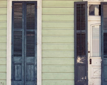 new orleans print, creole cottage, green home decor, french quarter art, new orleans photography, architecture art