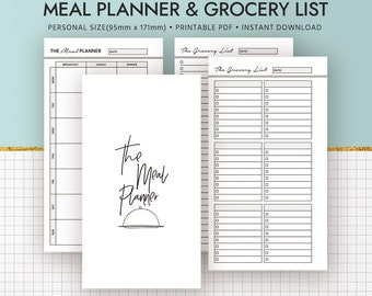 2018 Meal Planner, Printable Personal Inserts, Menu Planner, Grocery List, Shopping List, Planner Binder, Filofax Personal, Instant Download