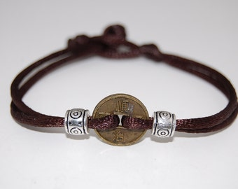 Chinese Lucky Coin Bracele,One Charm Thick Cord Bracelet,Spirituality,Mala,Men,Woman,Yoga,Protection,Meditation,Protection,Good Fortune