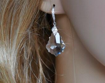 Handmade Swarovski Baroque Crystal Clear Dangle Earrings, Bridal, Wedding (Sparkle-2573)
