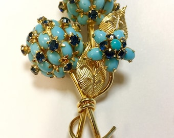 Vendome Designer Signed Flower Faux Turquoise Brooch Pin