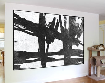 extra large wall art abstract painting on canvas, original canvas Painting, black and white handmade acrylic Painting, home fine art
