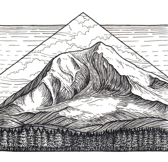 Mt Adams 5x5 Print Mountain Art Giclee Print Pen And Ink
