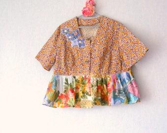 Woman Size XXL - 52/48 peplum blouse romantic shabby, vintage floral ruffle blouse Bohemian shabby romantic, flower peplum blouse