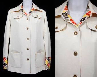Vintage 70's PAUL OF CALIFORNIA Light Jacket w/ Colorful Collars & Sleeves M
