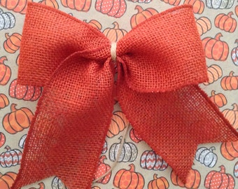 Halloween Decor Bows / Harvest Orange Bows / Burlap Orange Bows / Set of 14 / Harvest Decorative Bows / Handmade and Design in wired ribbon