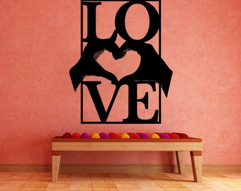 Vinyl Wall Decal Sticker Heart Hands With Love 5443m