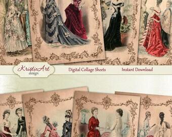 75% OFF SALE Women's Secrets - Digital Collage Sheet Digital card C122 ATC Cards Printable download digital image paper craft cardmaking