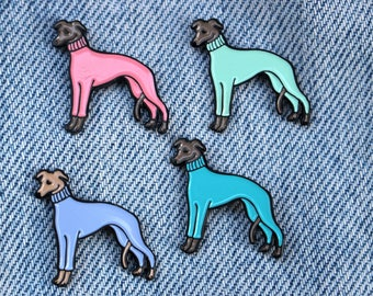Whippet / Italian Greyhound in a Turtleneck Sweater Enamel Lapel Pin - Multiple Colors!