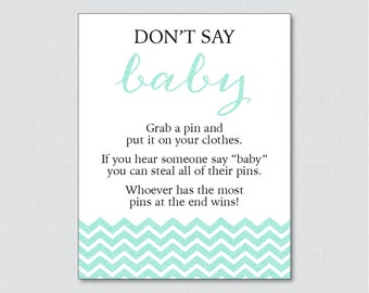 Donu0027t Say Baby Baby Shower Game With Aqua Glitter Chevron   Printable  Diaper Pin