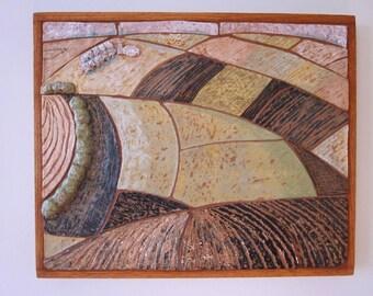 """Handmade Ceramic Mosaic, """"Working The Land"""""""