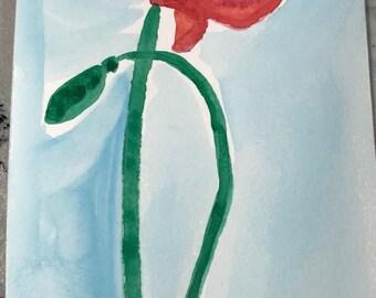 Watercolor poppy 4x8