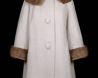 Norman Norell designed wool coat with mink fur collar cuffs, 1940s 1960s designer couture jacket, mod, cold weather beige tan, Traina Norell