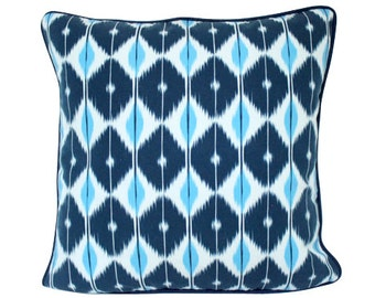 Blue Schumacher Sarong Pillow Cover with Navy Blue Piping