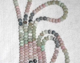 Peruvian Opal, Multicolor Opal, Fluted Rondelle, Opal Rondelle, Natural Stone, Semi Precious, Graduated Strand, 7-9mm, AdrianasBeads