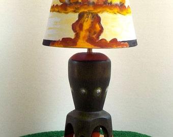 Pinup Girl, Nuclear Bomb, Mushroom Cloud Explosion, Apocalypse Lamp /  Turned Wood,