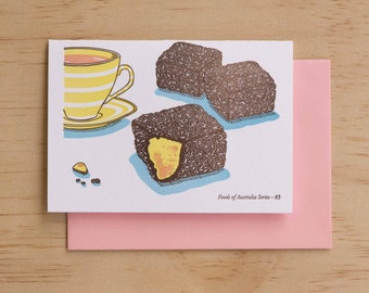 Lamington - Foods of Australia Series Letterpress Card