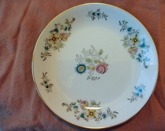 Minton Avignon Coaster Butter Pat Plate Floral with Gold Rim Bone China Made in England 1964-1975