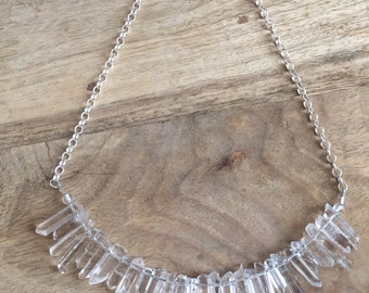 Rock crystal sterling necklace.