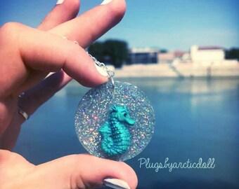 Seahorse necklace unique holographic
