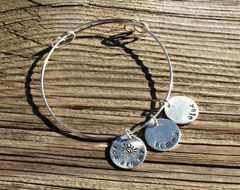Personalized Hand Stamped Bangle Bracelet You are my Sunshine - Sterling Silver - Gifts for her - Gifts for Mom - Mother's Day