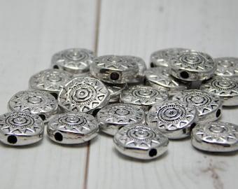 20 or 40pcs - 10mm - Aztec Sun - Sun Beads - Silver Beads - Antique Silver - Silver Spacer Beads - Silver Spacers - Sun Face - (979)