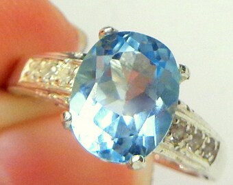 Natural Blue Zircon, Sterling Silver, White Topaz Band, Oval Shape Pastel Blue, Engagement, Wedding, Promise Ring