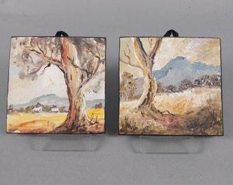 Miniature Paintings on Hardboard Trees, Pastoral Scenes, Vintage Art