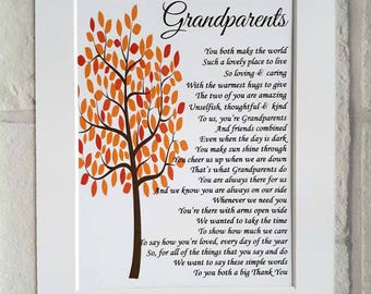 Grandparent Gift for Christmas,UNFRAMED 10x8 Anniversary Gift for Grandparents, Nan and Grandad gift, non Personalised Gift from Grandchild
