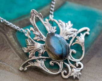 "Necklace elven ""Elwing"" LabradoriteLisse - Silver Collection - Art pattern"