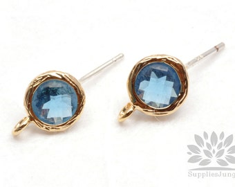 E200-G-MO// Gold Plated Montana Round Glass Post Earring, 2 pcs